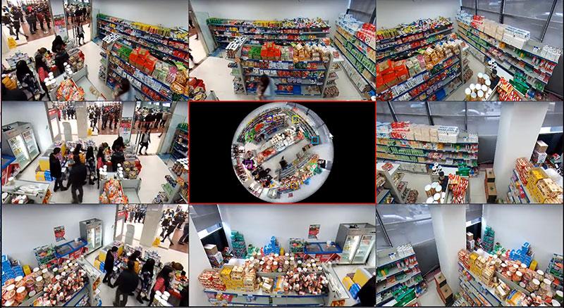 Das Videobild der 360°-IP-Kamera lässt sich problemlos in verschiedene Ansichten aufteilen