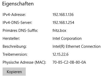 Netzwerkverbindungsdetails eines PCs