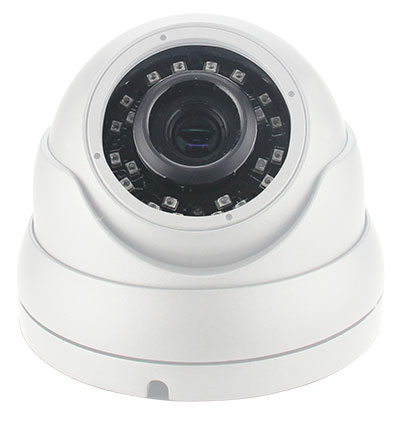 Großaufnahme von Objektiv und Nachtsicht-IR-LEDs einer Überwachungskamera
