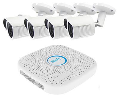 4 Kanal Netzwerkrekorder mit 4 IP-Kameras im Set, Datenübertragung und Stromversorgung per Netzwerkkabel