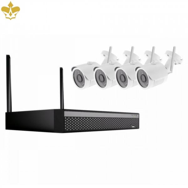 4 Kanal Videoüberwachungsset mit LAN und WLAN als Outdoor-Set mit IP Kameras und Netzwerkrekorder