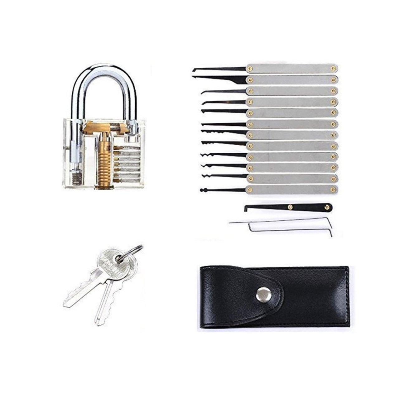 lockpicking pick set mit transparentem vorh ngeschloss als dietrich set zum ben und lernen. Black Bedroom Furniture Sets. Home Design Ideas