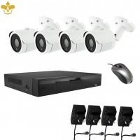 4 Kanal Powerlan Videoüberwachungsset mit Netzwerkrekorder und 4 Outdoor-Überwachungskameras