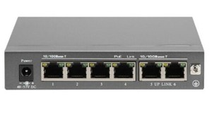 6-Port-POE-Switch - Power over Ethernet Gigabit Switch zur Stromversorgung von max. 4 POE-Kameras