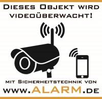 """Warnaufkleber: """"Dieses Objekt wird videoüberwacht"""""""