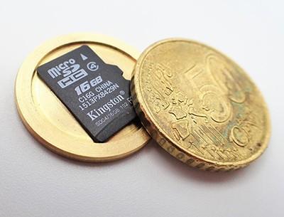 Hohlmünze - Transport- und Aufbewahrung für microSD Karte, Kryptowährungen Bitcoin, Privat Key, Seed