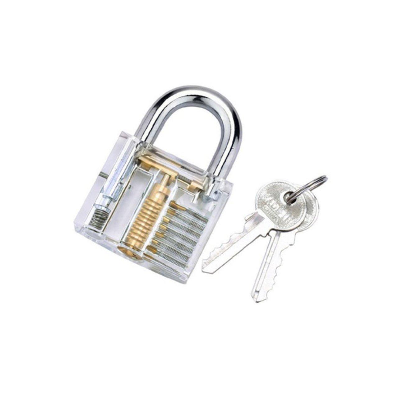 lockpicking pick set mit transparentem vorhängeschloss als dietrich