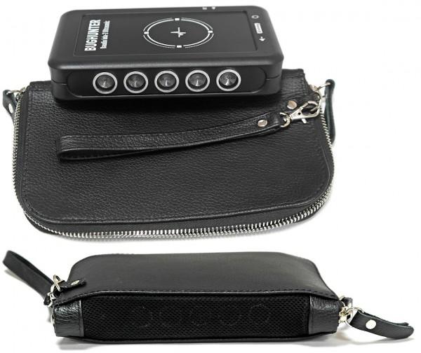 Getarnter Mikrofonstörsender mit Ultraschall, nicht hörbar - zum verdecktem Einsatz mit Ledertasche
