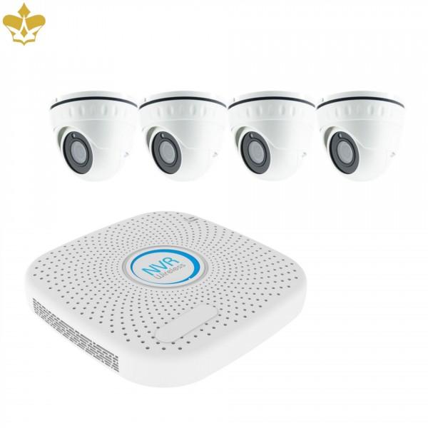 4 Kanal POE Überwachungskameraset mit wetterfesten 4-MP-Domekameras und mobilem Fernzugriff