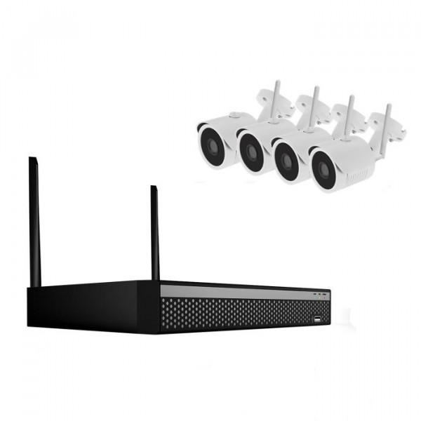 4 Kanal WLAN-Videoüberwachungsset mit hoher 4 Megapixel-Videoauflösung zum Outdoor-Einsatz
